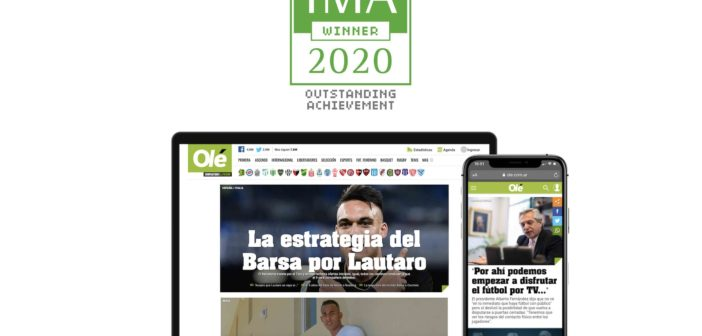 Olé, premiado en los Interactive Media Awards, en las categorías Newspaper y Sports